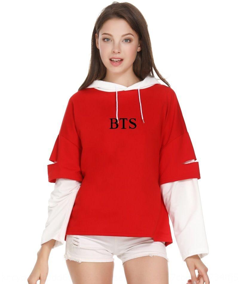 gruppo GYIp0 coreana con falsi Rivestire le donne di stile alla moda maglione due nello stesso strato sottile di stile per bambini incappucciati