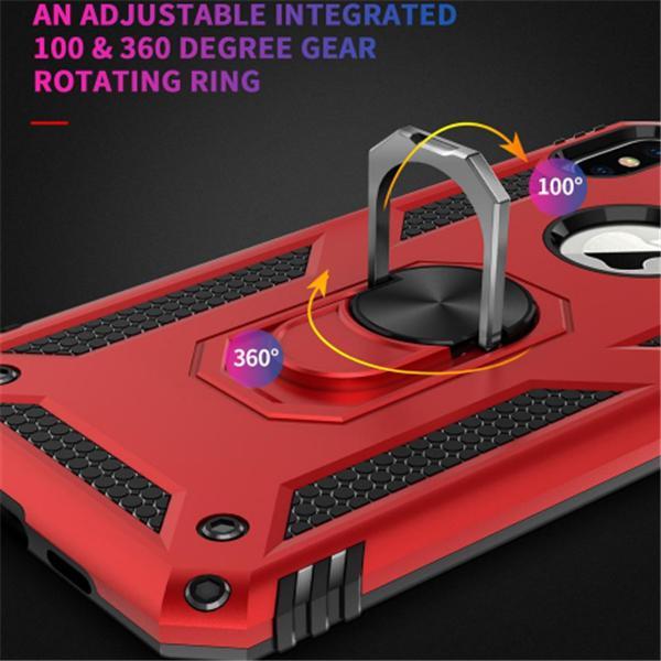 Antichocs armure de cas pour l'iPhone X 7 8 6s Support magnétique anneau en métal Téléphone Stand Cover pour iPhone Coque Samsung A20 A50 S20u