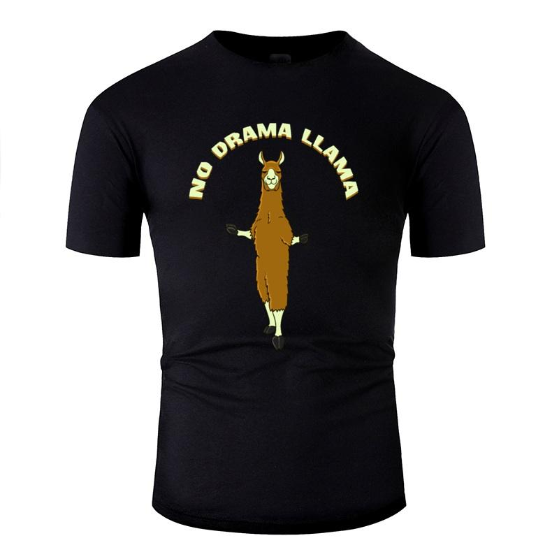 Vintage Cotton No Drama Llama cadeau T-shirt Homme 100% des lettres drôles de fille de garçon T-shirts ras du cou Homme T-shirt