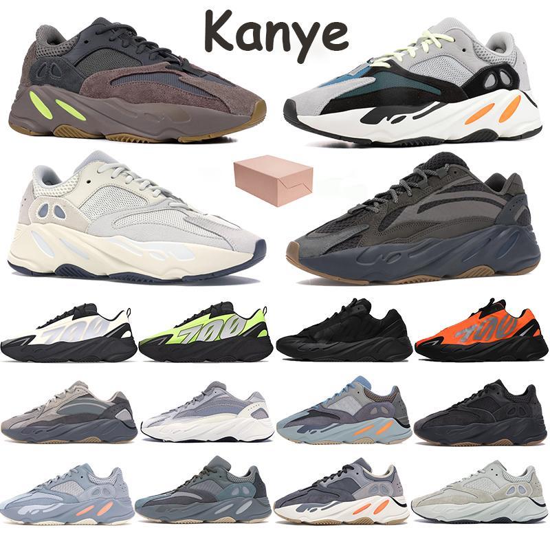 700 coureur de vague réfléchissant Kanye Hommes Chaussures de course Phosphore os orange statique sel analogique carbone Sarcelle sport avec boîte Formateurs