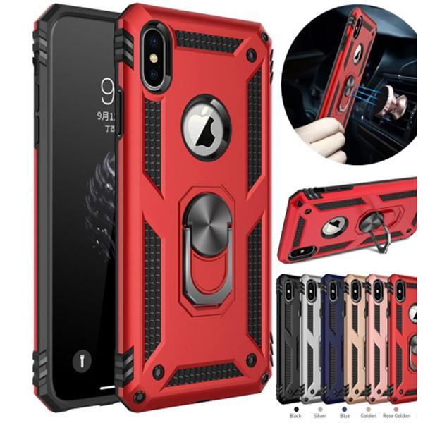 Hibrit Zırh Vaka Manyetik Halka iPhone 11 pro XR 7 8 6S artı galaksi s20 S10 s9 artı not 10 vaka için Kickstand davayı Standı