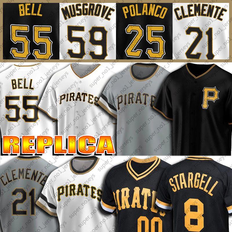 55 Josh Bell Jersey 8 Willie Stargell Jerseys 21 Roberto Clemente Jersey Joe Musgrove Gregory Polanco Adam Frazier Custom Beisebol Jersey