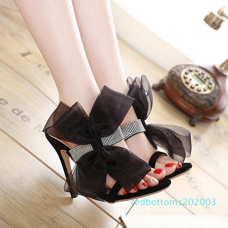 размер 35 до 40 роскошных черный галстук-бабочка цветок горный хрусталь мулов сандалии дизайнер каблуки приходят с коробкой r03