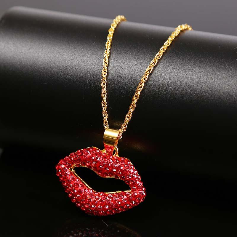 New red acrylic pendant necklaces for women designer jewelry gold alloy crystal lips red rhinestone fashion jewelry necklace