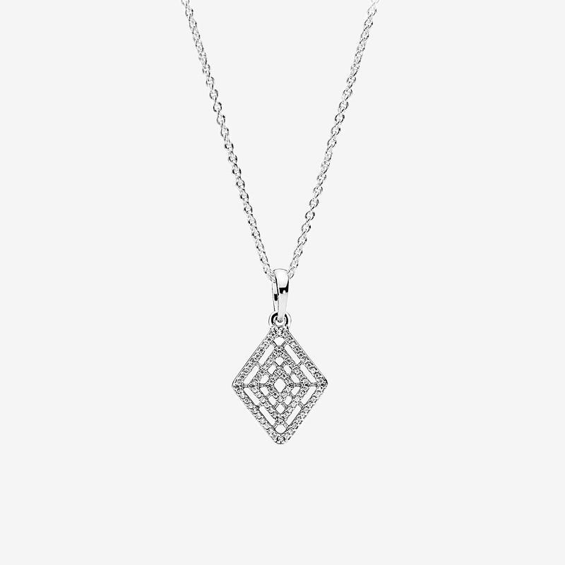 925 스털링 실버 마름모 펜던트 목걸이 여성 CZ 다이아몬드 결혼 선물 판도라 기하학적 라인 목걸이에 대 한 원래 상자