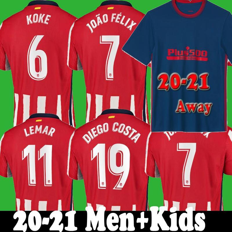 2020 JOAO FELIX soccer jersey madrid 2021 enfants camiseta M.LLORENTE MORATA SAUL ATLETICO KOKE DIEGO COSTA 20 21 kits maillots de football loin