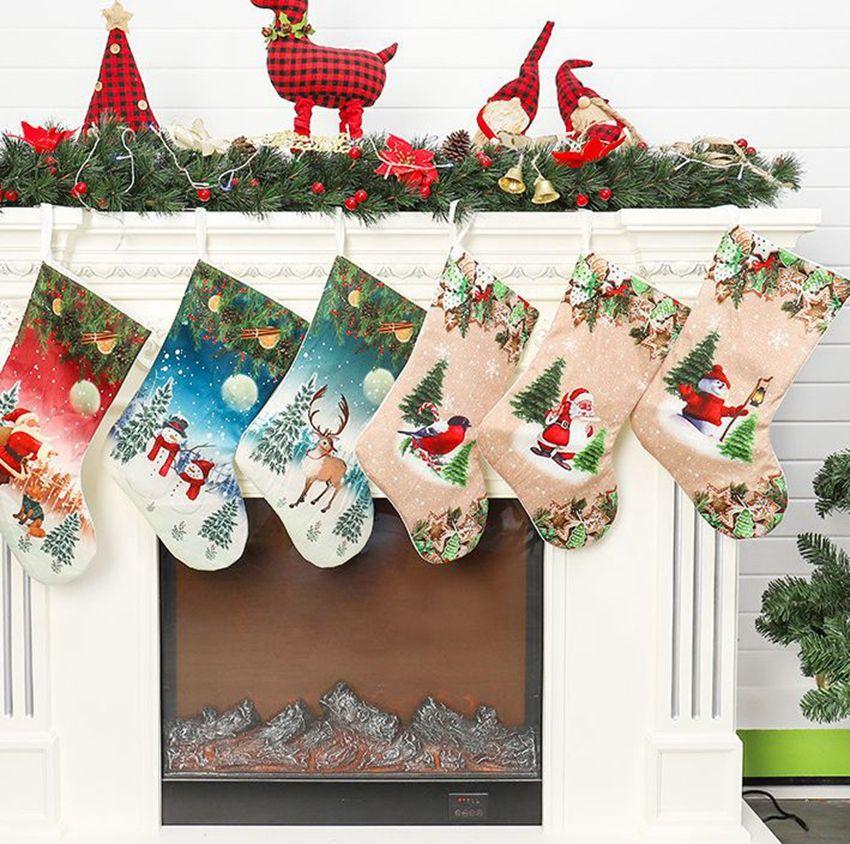 Meias de Natal 20 polegadas de Santa Snowman Xmas Hanging presente de doces Meias de Natal Meias Decoração Stocking Bolsas LJJK2442
