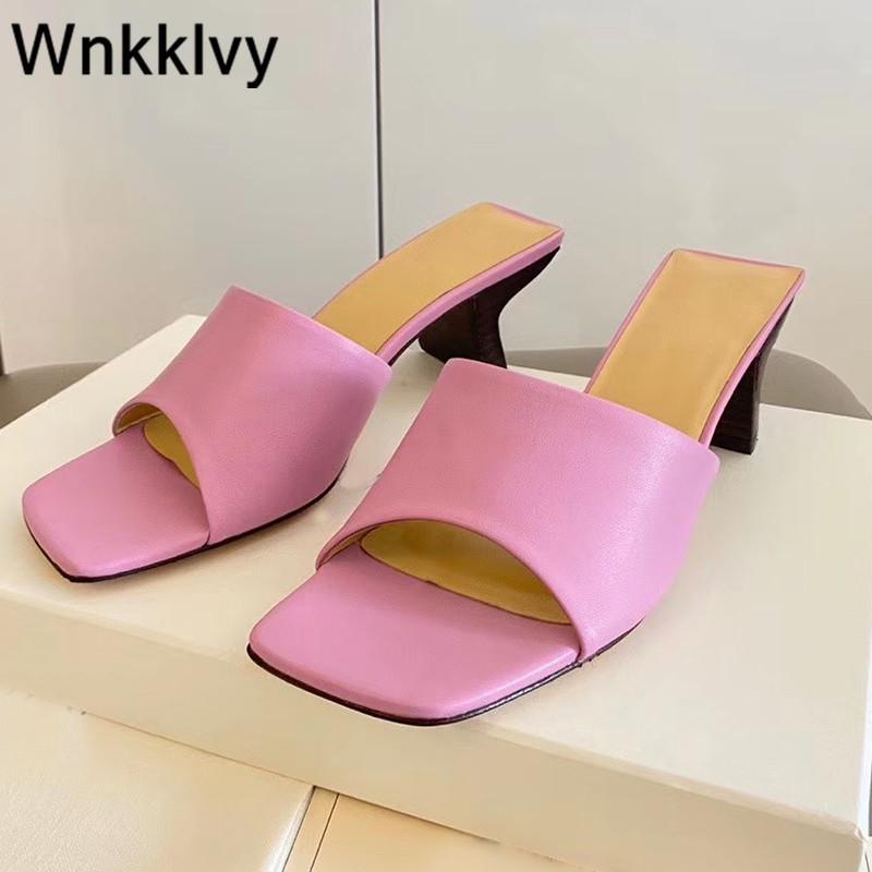 talons hauts en cuir véritable Chaussures femmes vocation 2020 pantoufles parti robe FLIPFLOPS sandales d'été de couleur bonbons de mujer