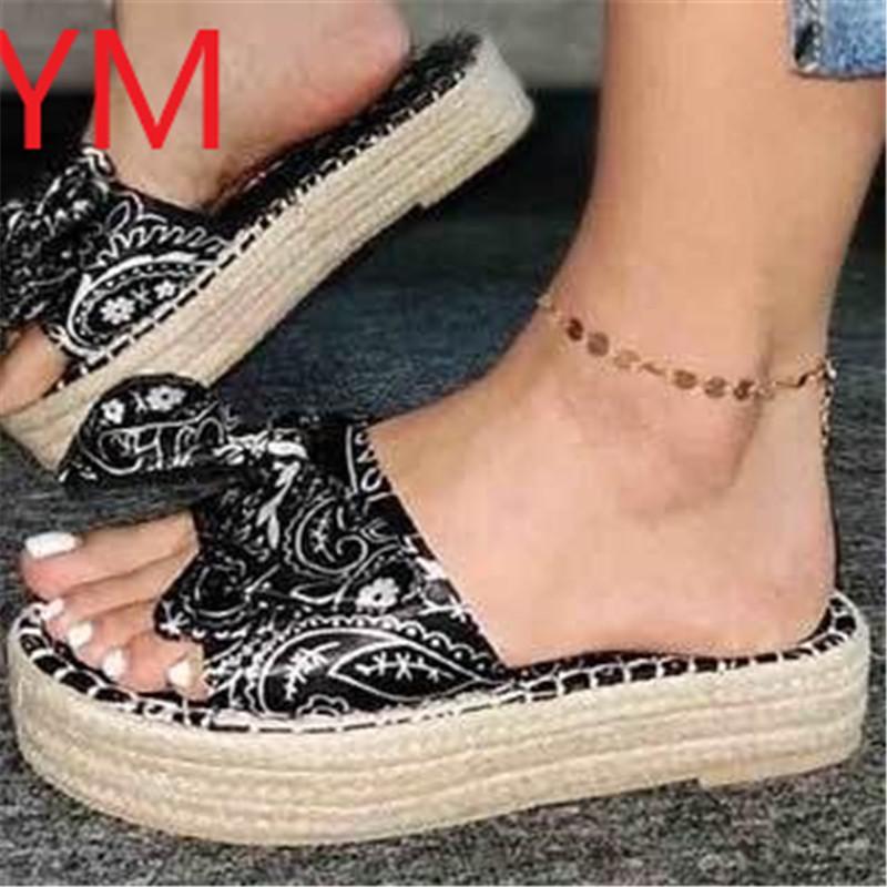Leopardo arco sandalias Slip-On zapatos planos zapatos Sliippers de la mariposa de los nudos de las mujeres Los diseñadores de tacón de cuña de las señoras de playa sandalias del partido
