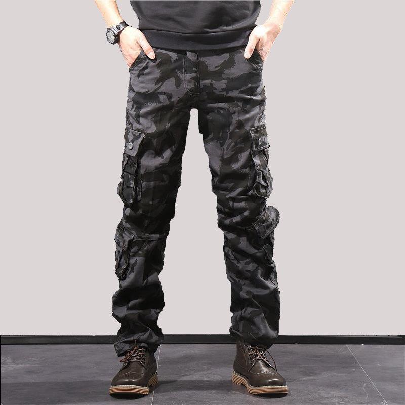 Calças táticas do Exército masculinos Camo Jogger algodão Calças Muitos Pants bolso com zíper camuflagem preta dos homens 42 44 Plus Size