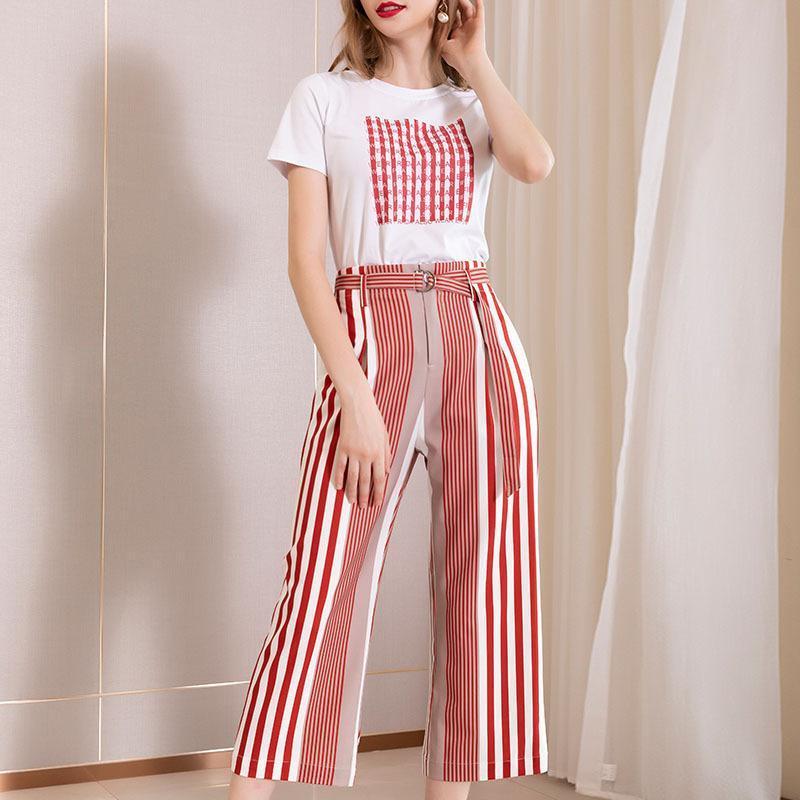 2020 Shenzhen Suit elbise Sızdırmazlık In Kolay Cuffless Pantolon Renk Çarpışma Is İnce Ve Beyaz T Yazık takımdan Kemer Derecesi