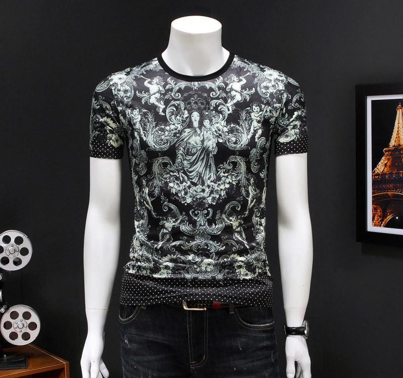 2020 vêtements de mode T-shirt T-shirt des hommes de haute qualité de la mode d'été à manches courtes décontracté col rond confortable 8NM3