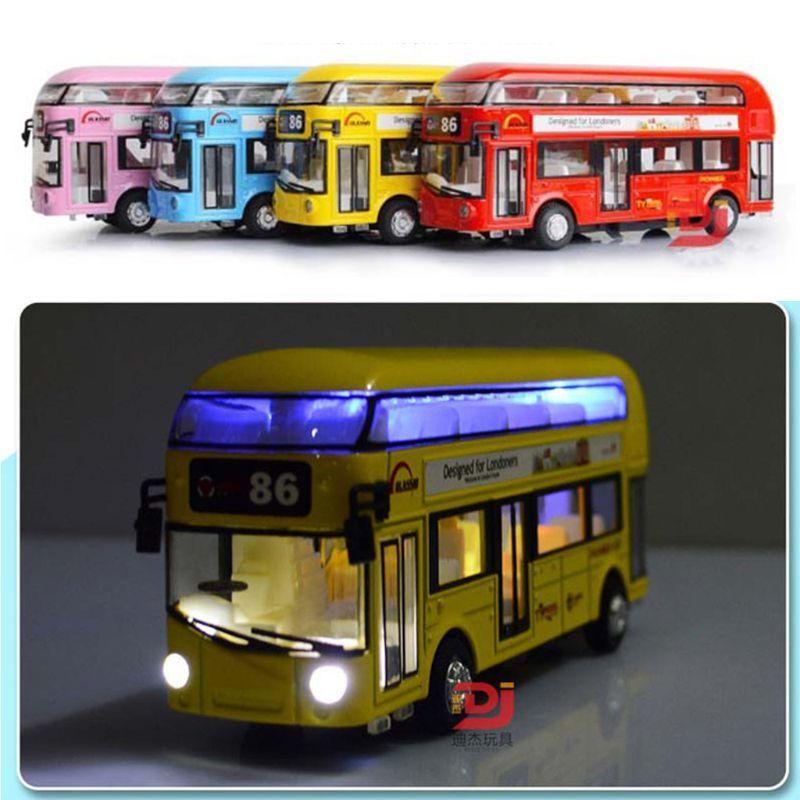 Escala de Turismo de metal de dos pisos Tour Bus sonido de la luz Diecast modelo de coche de juguete