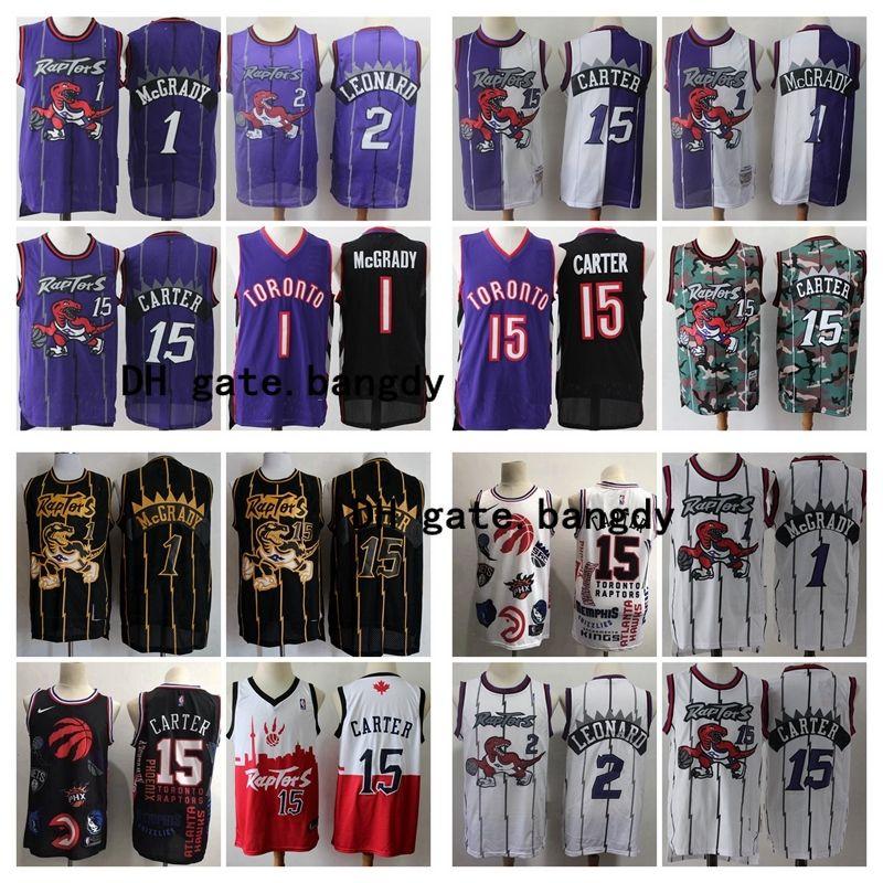 Vintage Men TorontoRaptorsThrowbacknba Vince 15 Carter Tracy 1 McGrady Basketball Jerseys Stitched Purple White Retro Shirts