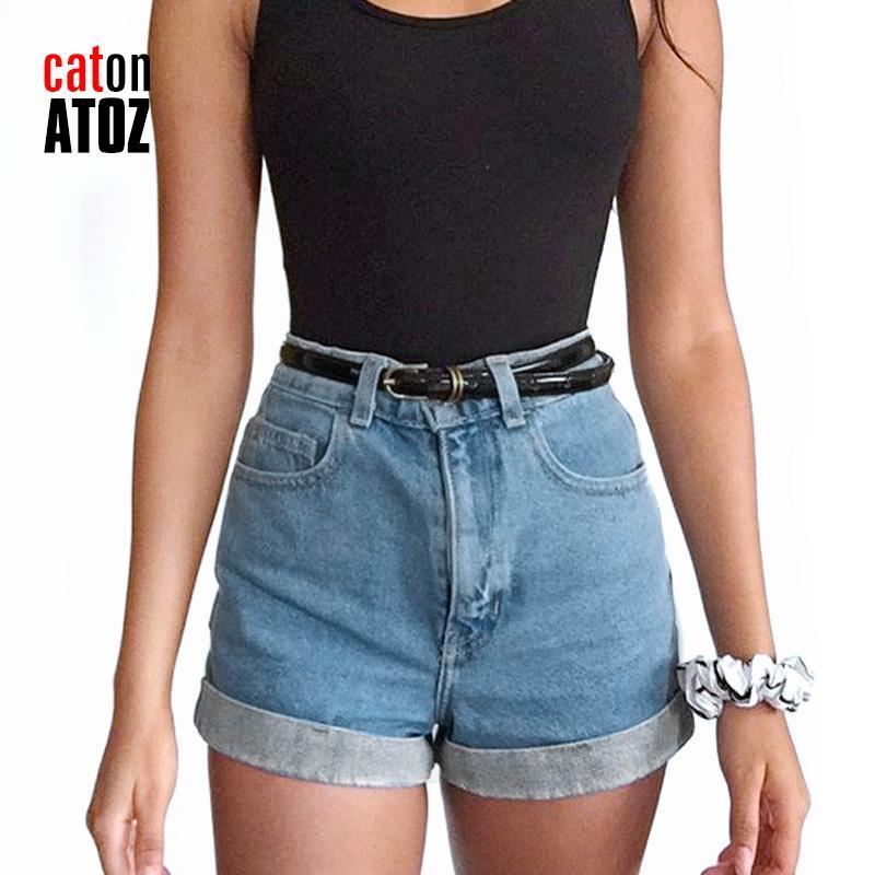 catonATOZ 2213 sexy delle donne del cotone vita alta Shorts signore banda laterale pantaloncini a vita alta pantaloni del denim strappato per la donna