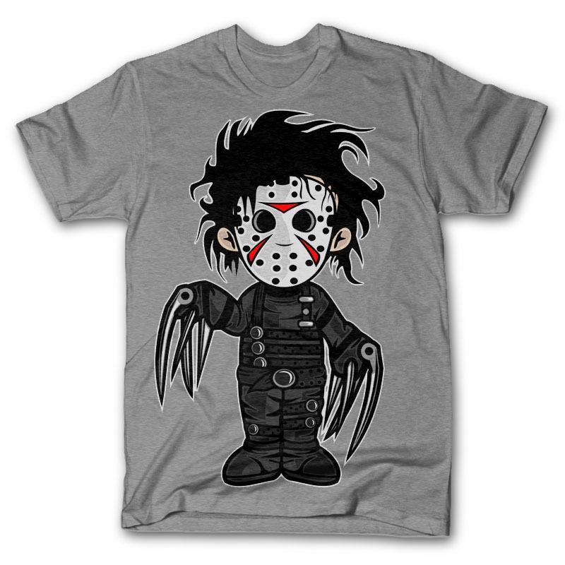 SCISSORHANDS VS JASON T camisa de Halloween horror dvd