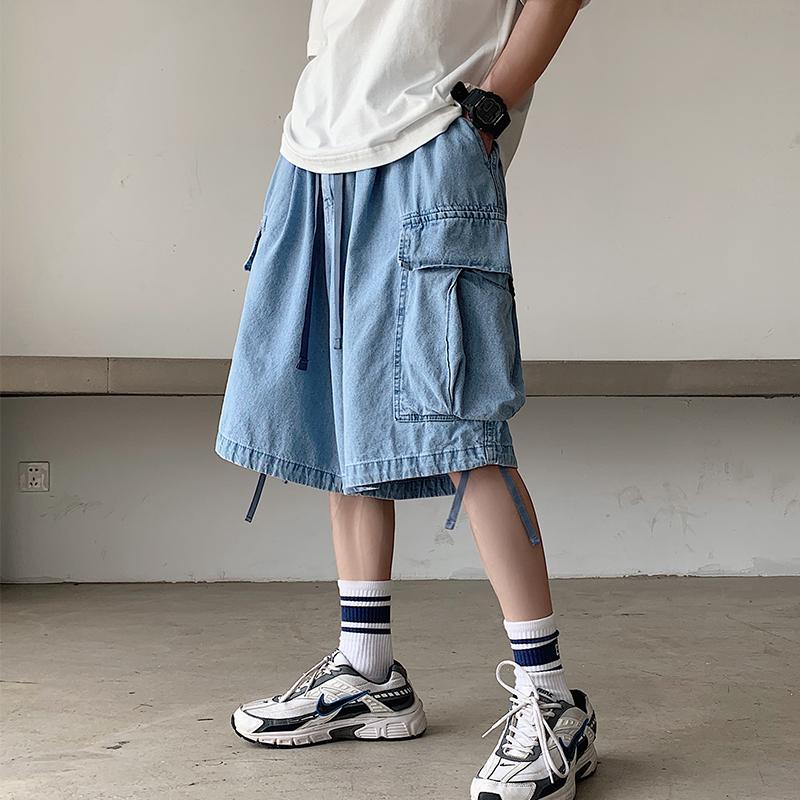 iiDossan 2020 color sólido pantalones cortos de mezclilla hombres Bolsillos regular corte extragrande ponen en cortocircuito el hombre casual pantalones cortos de mezclilla pantalones de Hip Hop