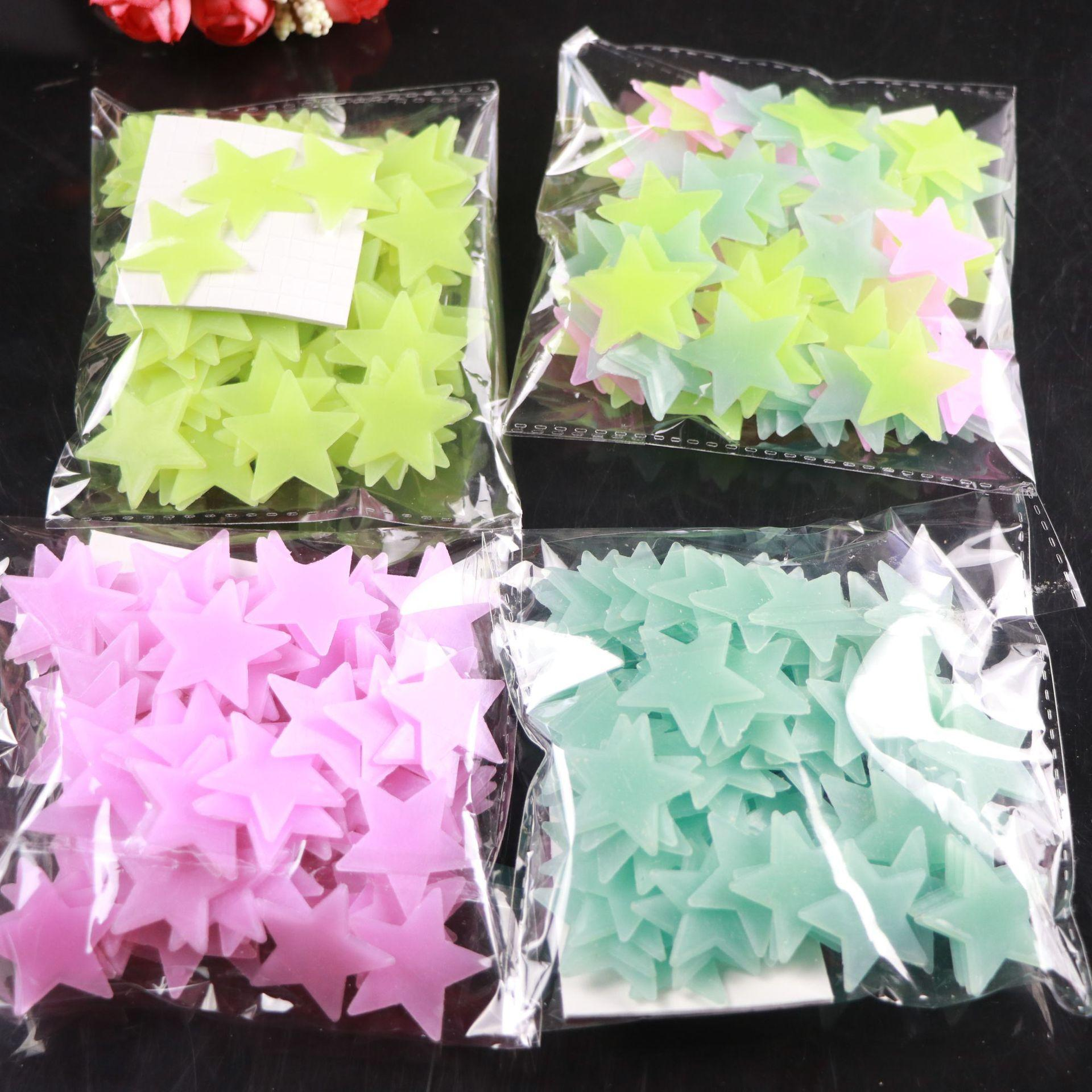 100 pcs/Bag 3D Stars Glow in The Dark Luminous on Wall Stickers for Kids Room living room Wall Decal Home Decoration Poster