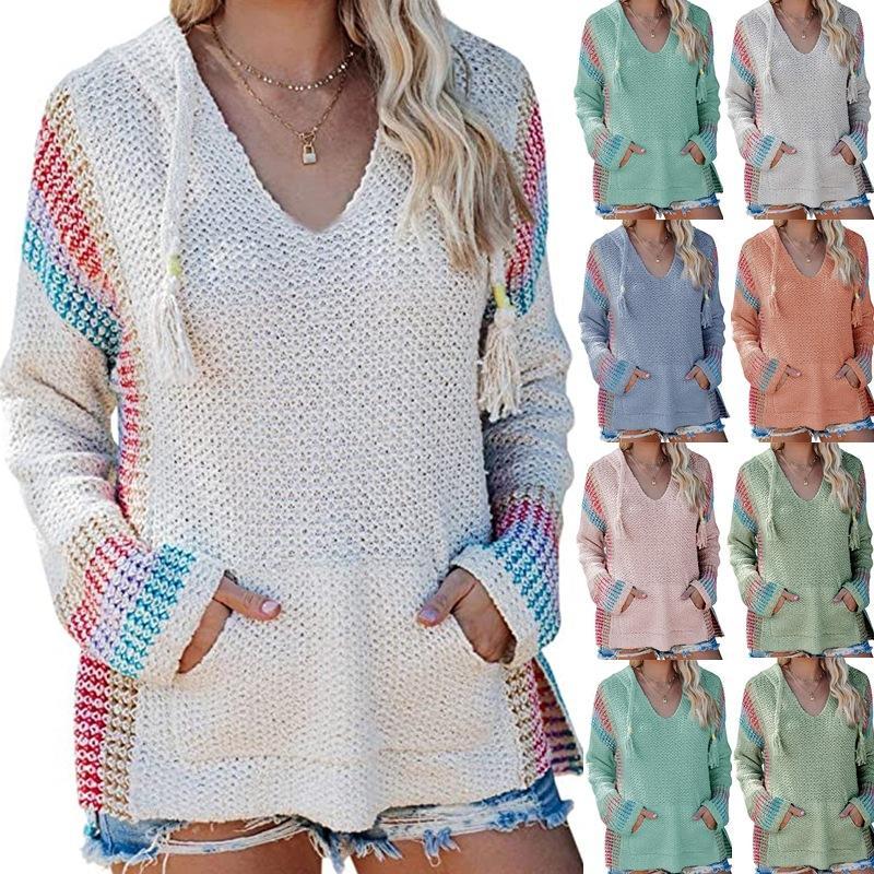 color a juego Top de punto con cuello redondo ropa de Split a rayas de invierno de las mujeres Sudadera de manga larga suéter flojo