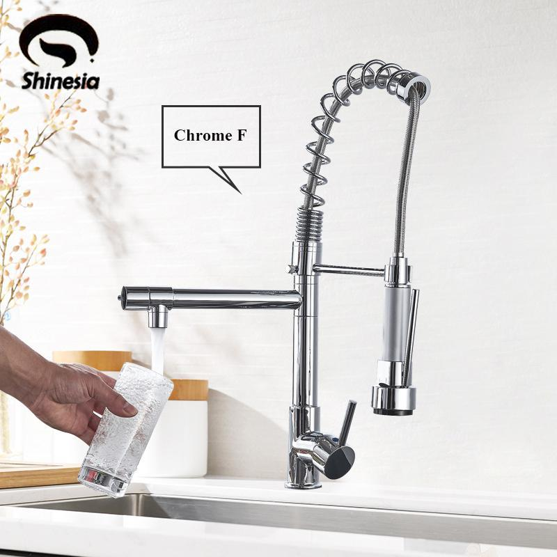 Good Quality Wholesale And Retail Chrome Finished Pull Out Spring Kitchen Faucet Swivel Spout Vessel Sink Mixer Tap Hot and Cold T200424