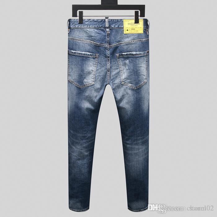 Jeans 20ss nuovo modo caldo dei jeans trafitto progettista jeans stretti moda maschile di tendenza degli uomini di marca quattro stagioni pantaloni H0399