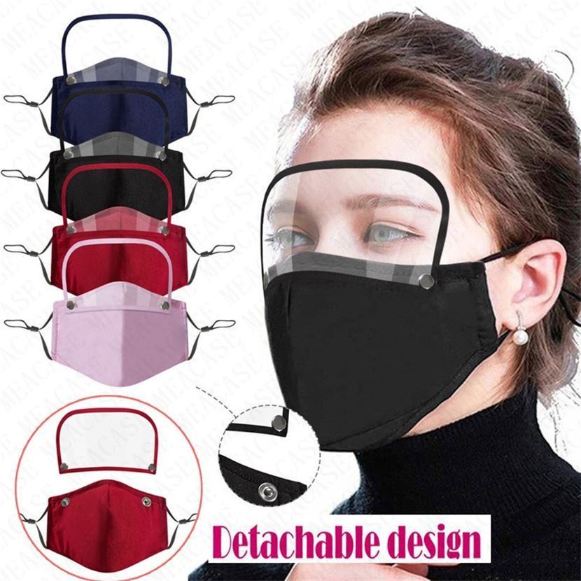 Máscaras projeto Cotton respiro válvula Homens Mulheres rosto cheio com filtros contra pó respirabilidade Rosto destacável Máscara Tampa 4 cores VENDA D71507