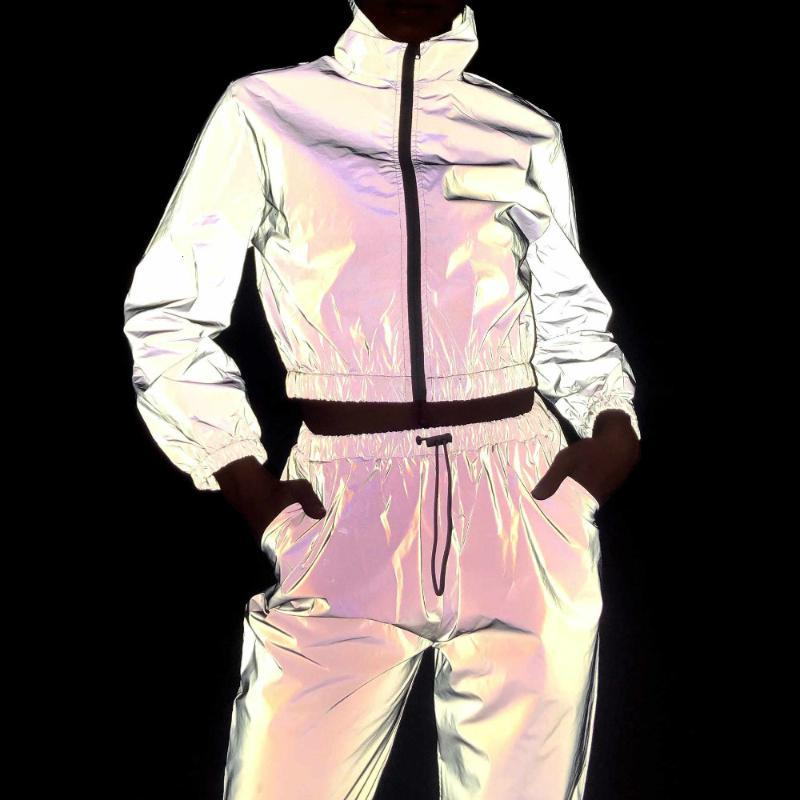 Vestido de dos piezas Traje de mujer 2 Set Hip Hop Reflective Cultur Top Pants Fashion Female Solf Stripper Waterbreaker Chaqueta Abrigo Conjuntos de juego
