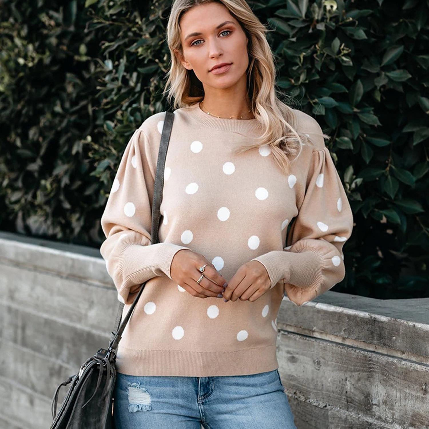 2020 Women's Pullover Crew Neck Sweater Female Casual Long Sleeve Knitted Sweater Women Polka Dot Print Sweater
