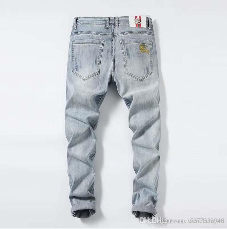 hombre del diseñador de moda los pantalones vaqueros de mezclilla Italia hombres s vaqueros cremallera verdadera delgado lavado decorado pantalones casuales urbanas