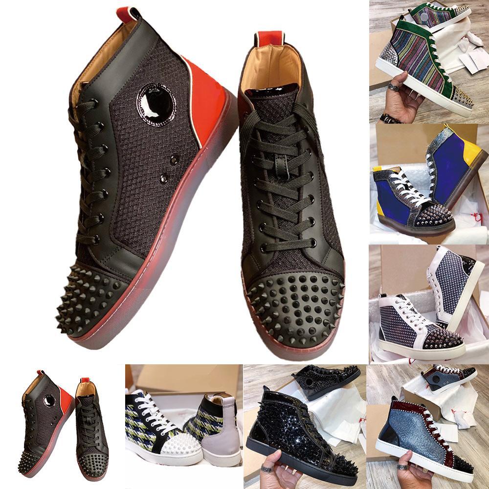 2020 الساخن بيع المتضخم مصمم أحذية رياضية الرجال النساء أحذية الأحمر أسفل السامي قطع المسامير الشقق الأحذية الجلدية حذاء رياضة حذاء عرضي حجم 35-47
