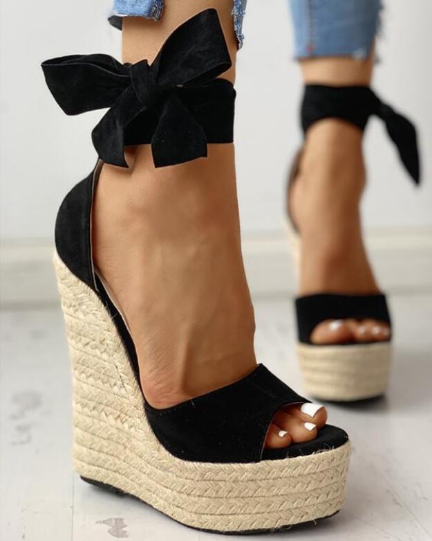 Femmes Wedge Sandales Femme plate-forme Bohême talon haut Sandales mode boucle cheville ouvert Toe Chaussures pour femmes populaire européen confortable