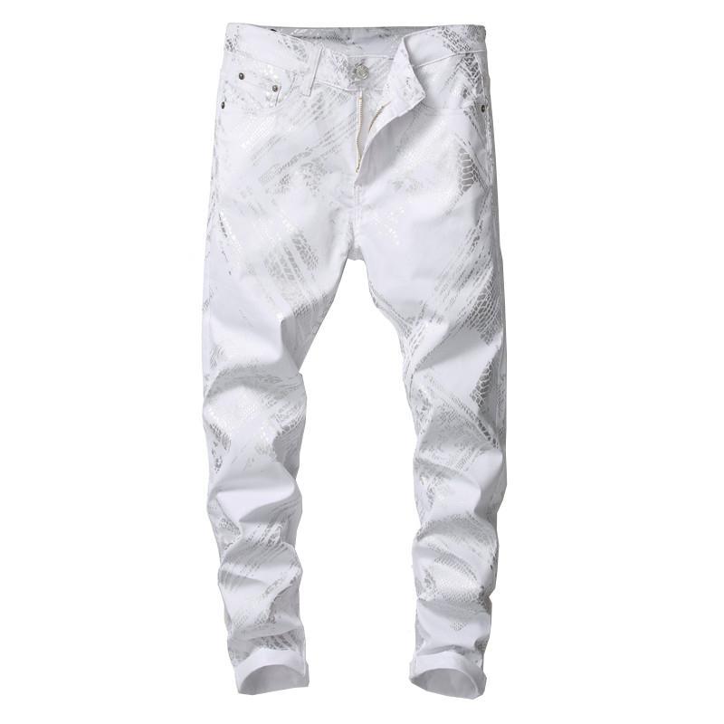 piel de serpiente de plata Sokotoo los hombres de los pantalones vaqueros blancos impreso Moda ajuste delgado pantalones de mezclilla tramo
