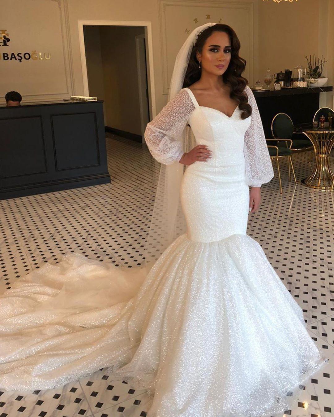 Vintage Plus Size Wedding Dresses Arabic Gowns Aso Ebi Sparkly ...