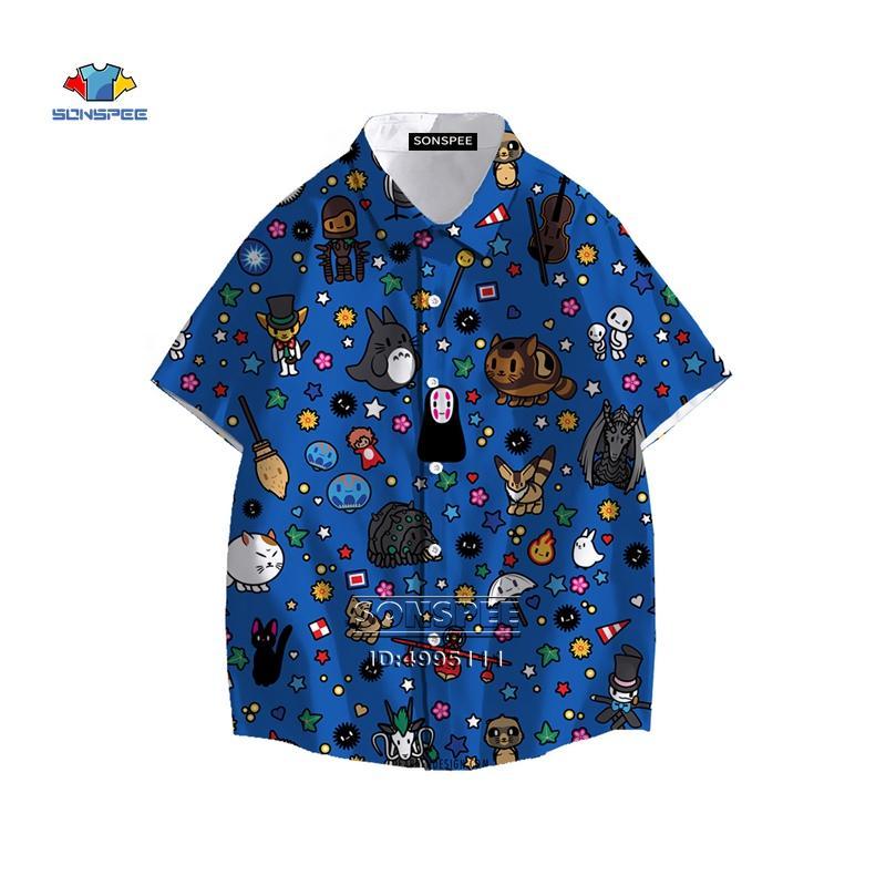 Yeni Miyazaki Hayao Benim Komşum Totoro Erkek Gömlek Ruhların Kaçışı Hawaii Gömlek Yaz Casual Plaj Gömlek Kısa Kollu yazdır 3D