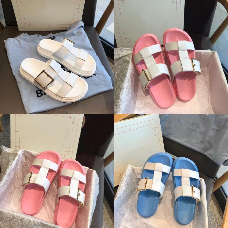 Zapatos de verano de los deslizadores de las sandalias de la mujer 2020 de los lunares transparente punta abierta chanclas Claro Mujeres al aire libre planos de la playa Diapositivas # 146