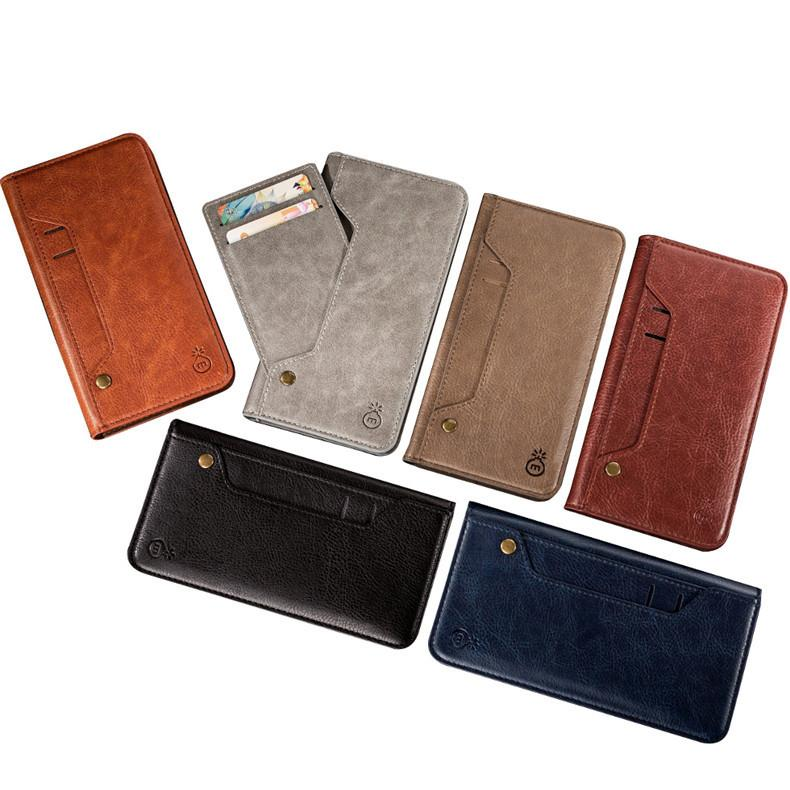 professional mobile phone case suppliers movable card slot leather phone case with photo slot iPhone XS retro nail front card phone case
