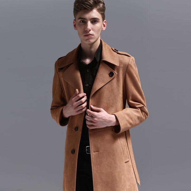 벨트 플러스 사이즈 5XL 6XL 긴 스타일 싱글 브레스트 남성 코트 및 재킷 패션 트렌치 코트 남자와 섀미 가죽 남성 코트