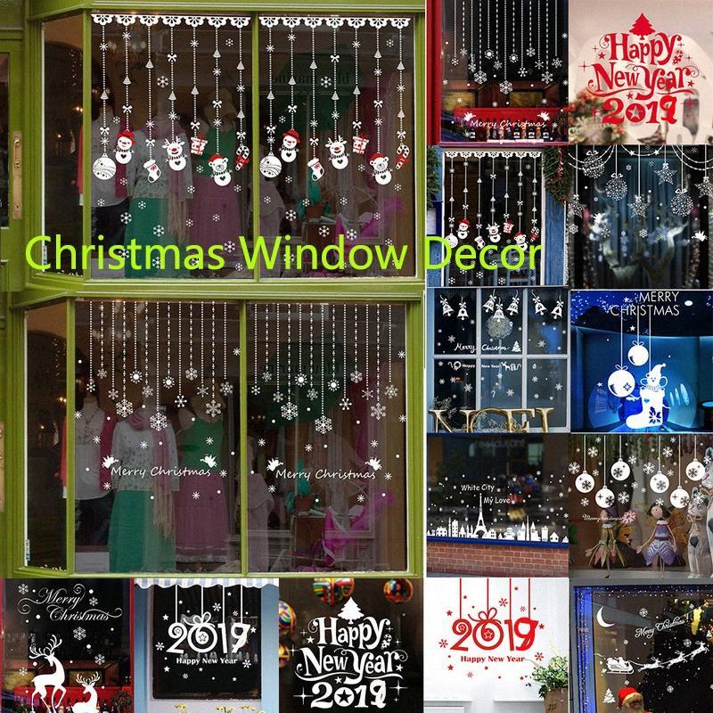 DIY neue Jahr-Wand-Aufkleber Dekoration Weihnachtstapeten Reindeer Aufkleber für Schaufenster dekoriert Weihnachten Glas Schneeflocke Hauptdekor Haus thO6 #