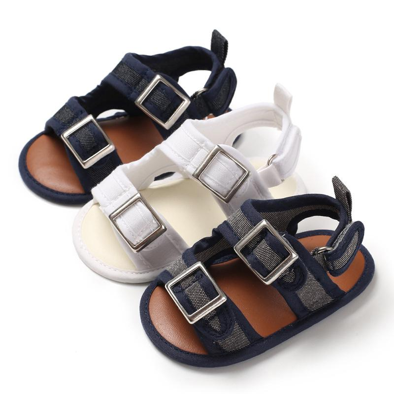 Infant Baby Boys Shoes Canvas Beach Open-Toe Buckle Soft Sole Slipper Toddler Non-Slip Crib Shoes Summer shoe