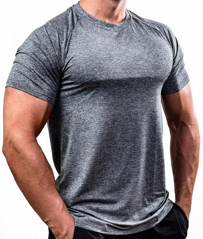 Mens Fitness Gym camisa do Bodybuilding manga curta Esporte Quick Dry Basketball Jersey Sportswear Correndo Crossfit treinamento camiseta DIHH #