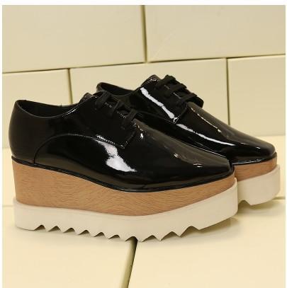 2019 venta caliente! Plataforma de la estrella Stella McCartney mujeres zapatos de calidad superior de piel de becerro de cuero genuino 7cm mn012 cuña Oxford Elyse las zapatillas de deporte