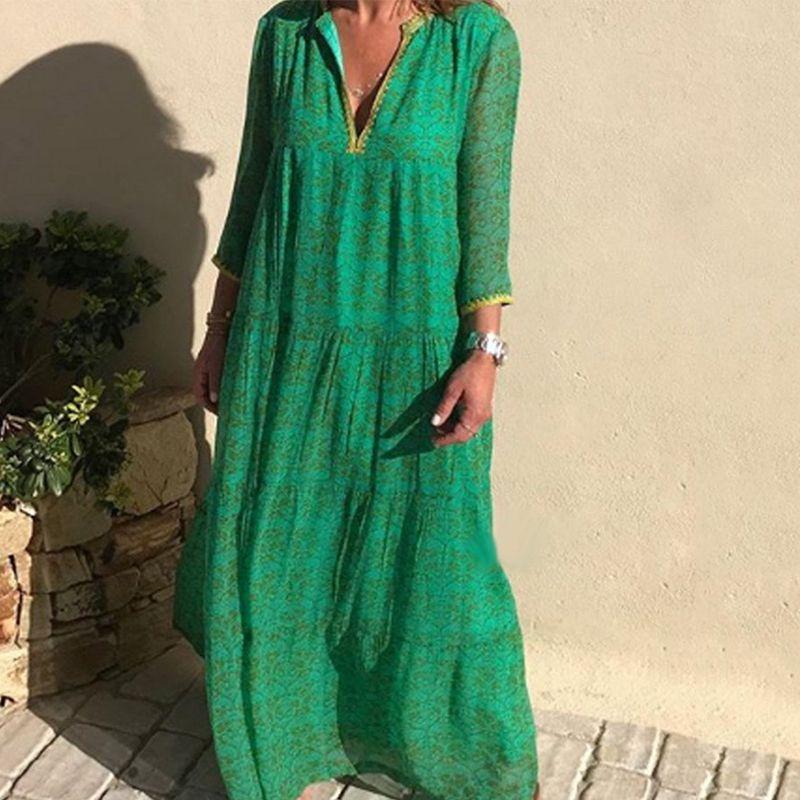 de las mujeres Maxi floral Manga larga de Bohemia basa el vestido de la vendimia del verano del vestido elegante largo de Boho retro del vestido Vestidos