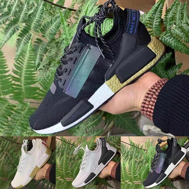 2020 race humaine chaussures de sport V2 Pharrell Williams Hu Trail mens chaussures de sport de sport noir femmes blanc rouge d'espadrille 36-45