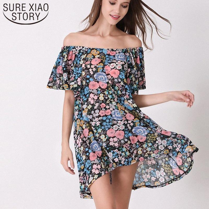 2019 Summer Fashion Loisirs vacances femmes Robe sexy en vrac court Un mot Collier Une ligne irrégulière Lady Top 50 3825 # BRUZ