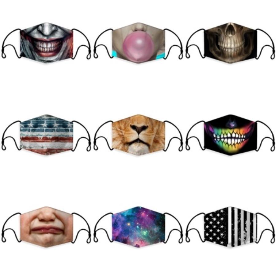 Anti Polvere Maschera S Stampato Bocca maschera antipolvere di protezione del ghiaccio del cotone di seta Maschera Viso Bocca Designer Er RRA3060 # 371
