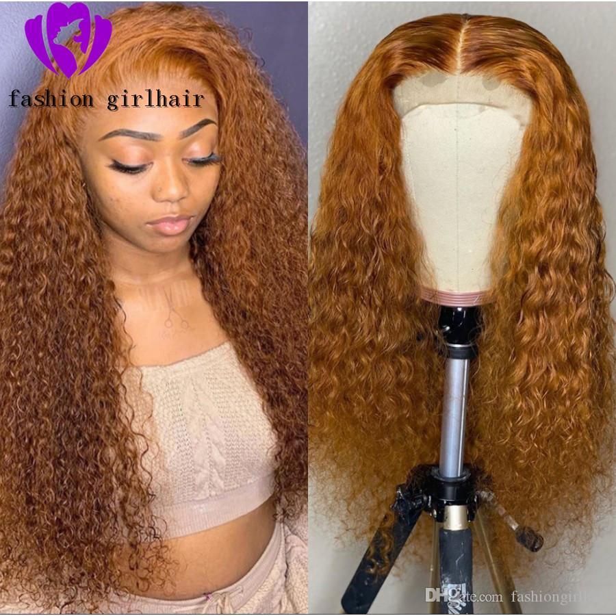 180density voll tiefen Teil 13x4 Spitze Frontal Perücken für Frauen Curly transparente Spitze Orange synthetische Spitze vorne Perücke für weiße Frauen