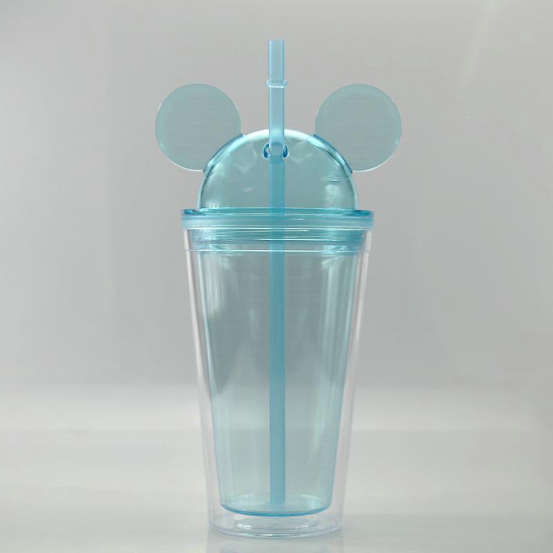Красочная массажер мышь Крышки уха чашка с Clear Напиток массажеры Пластикового акрилового 8Colors 15 унций Летнего массажер солома с двойным куполом Wall YJeDz