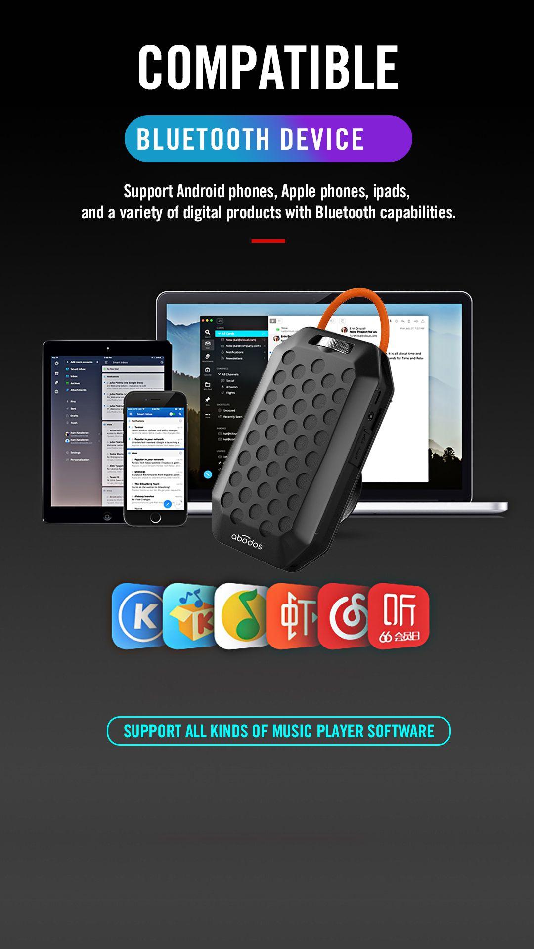 доказательство AS BS05 Wireless Bluetooth Speaker Открытый велосипедов Mic Портативные спортивные колонки с FM радио TF карта MP3 банк питания для Xiaomi Samsan
