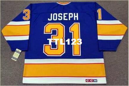 Uomo # 31 Curtis Joseph St. Louis Blu 1991 CCM Vintage retrò casa Hockey Jersey o custom qualsiasi nome o il numero retrò Jersey