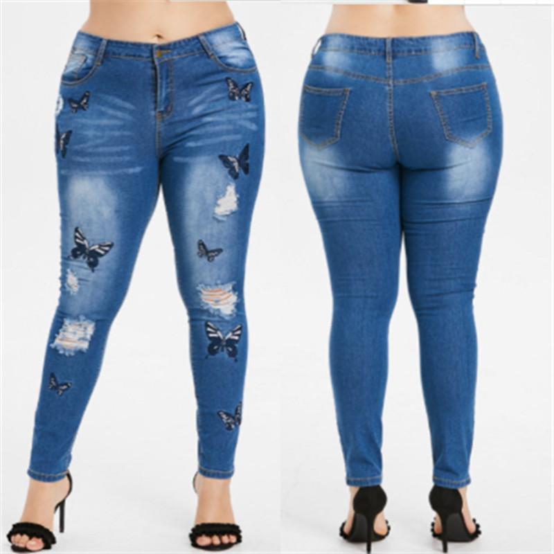 Kot Kelebek Nakış Delik Ripped Vintage Kalem Pantolon Moda Bayan Giyim Kadın Tasarımcı Artı boyutu 5XL